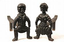 RARE FIGURAL ANDIRONS - Rare Pair of 19th c Cast Iron Figural Andirons in the form of an African-American Couple, with the original rem