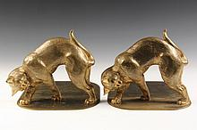 TIFFANY BOOKENDS - Gilt Bronze Bookends of Stalking Cats, marked 'Tiffany Studios, New York'. Circa 1910. 6 1/4