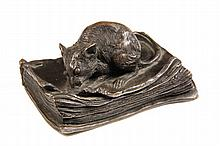 SILVERED BRONZE PAPERWEIGHT - French Table Sculpture in the form of a mouse nibbling the corner of a book titled 'Joueurs de Paris',
