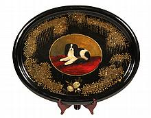 TOLE PAINTED TRAY - Large Oval Papier Mache Tray with rolled edge, handpainted portrait of a King Charles Spaniel Dog, surrounded by gi