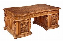 PARTNER'S DESK - Ornate Renaissance Revival Light Mahogany Partners Desk, marquetry inlaid edge carved shaped top; 3 drawers each side