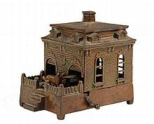 CAST IRON MECHANICAL COIN BANK - House-Form Hurdy Gurdy, a dog appears on the veranda with tray in mouth, taking your coin inside. Unma