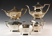 STERLING COFFEE & TEA SERVICE - 5-Piece Sterling Silver Coffee & Tea Service in the Queen Anne pattern by Dominick & Haff, late 19th c.