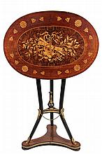 FRENCH MUSIC TABLE - Renaissance Revival Tilt Top Stand with music themed inlay, brass edge, ebonized legs and tripod base with ormolu