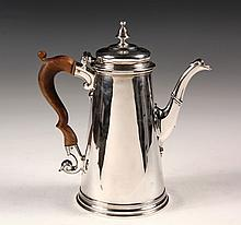 SILVER COFFEE POT - 18th c. English George II Sterling Silver Coffee Pot, hallmarked for London 1735 by silversmith Francis Spilsbury I