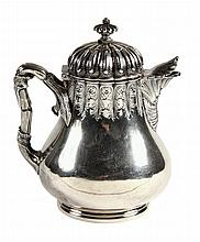 SILVER JUG - Coin Silver Hot Milk Jug with hinged lid by Grosjean & Woodward, New York (1853-62), retailed by Hayden & Whilden, Charles