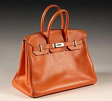 DESIGNER HANDBAG - Original Hermes Birkin Orange Togo Leather Handbag with gold fittings. 35mm.