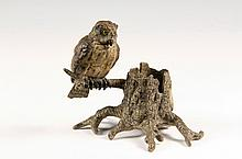 COLD PAINTED AUSTRIAN BRONZE - Viennese Match or Spills Holder in the form of a hollow tree stump with an owl on the only branch, by Fr
