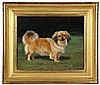 OIL ON PANEL - Full-Length Portrait of a Pekingese Dog in Fawn with black snout, ears and tail, white flashes. Unsigned. 20th c. In wat
