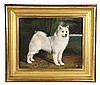OIL ON PANEL - Full-Length Portrait of a Snowy White Siberian Husky Dog, unsigned, 20th c. In water gilt molded frame. SS: 7 1/2