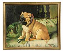 OIL ON CANVAS BOARD - Pug Dog on a Cushion with Ribbon Collar, by Robert Dumont-Smith (20th c. British), signed lr and dated 1907, in g