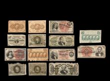 (14) US FRACTIONAL CURRENCY NOTES - Including (7) Postal: (2) 1862 5c (one soiled); (1) 1862 25c; (1) 1862 50c; (1) 1863 5c; (1) 1863 25c (edge losses); (1) 1863 50c; PLUS (7) US Bank Notes: (1) 1863 50c Spinner (edge...