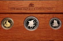 COINS - The 2000 Outback Collection, Australia, including 1oz each silver, platinum and gold, in wooden mount. Limited Edition, number 146/150 (numbered on back of plaque).