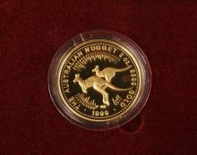COIN - The Australian Nugget 1999 Proof Issue 2 oz $200 Gold Coin with Certificate #110, in mahogany case.
