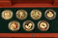 COINS - The Sydney 2000 Olympic Gold Coin Collection (7 of 8 present),in mahogany case.