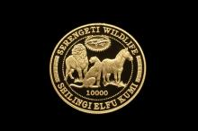 Coin - (1) Tanzania 1998 10000 Shilingi Gold Proof Serengeti Wildlife, in damaged black vinyl case.