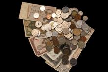 COINS & CURRENCY - Box of Mixed US and Foreign Coins, Foreign Paper Currency.