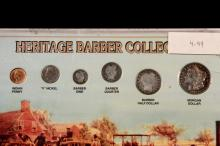COINS - (6) Pc Heritage Barber Collection, Indian Head Penny to Morgan Dollar, in capsule.