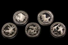 COINS - (5) Pc Set 1998 Tanzania Silver 2500 Shillings, in faux tan suede fitted case.