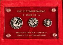 COINS - (3) Pc Set China 1990 Platinum Pandas Proofs, .85 oz, in painted wood box, inside cardboard box.