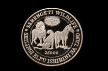 COIN - (1) Tanzania 1998 Serengeti Silver Kilo Proof 25000 Shilling, in tan suede case, 35 troy oz.