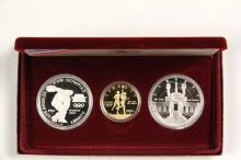 COINS - (3) Pc 1984 Proof Set Olympic with papers & box.