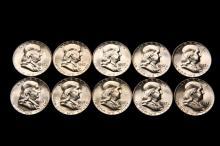 COINS - (10) Pc Franklin Halves, 1957, all CH BU.
