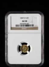 COIN - (1) 1849-O $1.00 Liberty Head Gold, NGC AU-58.