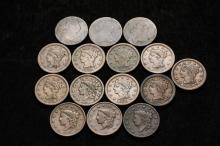 COINS - (15) Large Cents: 1796; (2) 1803; 1819; (2) 1837; 1838; 1847; 1850; (2) 1851; 1852; 1853; (2) 1854.