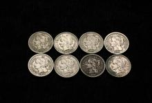 COINS - (8) Three Cent Nickel Pieces: (2) 1865 F; (1) 1869 VF; (1) 1870 F; (1) 1873 F; (1) 1874 F; (2) 1881 VF.