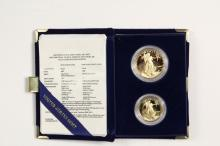 COINS - (2) Pc 1987 Gold Proof Set, 1/2 oz and 1 oz. With papers and box.