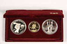 COINS - (3) Pc 1984 Olympic Proof Set with Gold. With papers and box.