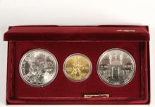 COINS - (3) Pc 1984 Olympic Set with Gold, BU. With papers and box.