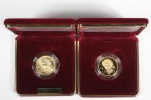 COINS - (2) Pc 1988 Olympic Gold Coin Set. BU & Proof. With papers and box.