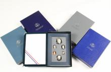 COINS - (5) Sets Prestige Proofs, include: 1986, 1987, 1990, 1991, 1993. With papers and box.