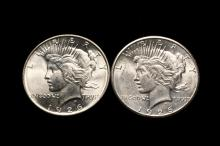 COINS - (2) Peace Dollars, includes: 1926; 1926 S. CH BU.