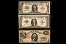 CURRENCY - (3) Pcs Large Size Currency, includes: (1) 1917 FH58 $2 Elliot-White; (2) 1923 F237 Silver Certificate Speelman-White.