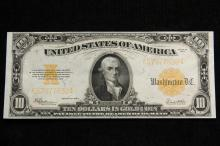 CURRENCY - Series 1922 $10 Gold Certificate, Speelman and White, with Gold serial numbers. Crisp Unc.