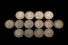COINS - (14) Flying Eagle and Indian Head Cents include: (1) 1857; (2) 1858 LL; (1) 1858 SL; (1) 1863; (2) 1864 BR; (1) 1865; (1) 1866; (1) 1868; (1) 1869; (1) 1875; (1) 1902; (1) 1909. From G-BU, nice lot.