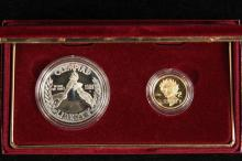 COINS - (2) Pc 1988 Olympic Coin Set, $5 Gold and $1 Silver. Proof with papers and box.