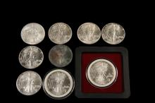 COINS - (9) Silver American Eagles 1 oz Silver includes: (1) 1995; (2) 1998; (2) 2000; (2) 1986; (2) 1987.