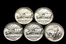 COINS - (5) Commemorative Half Dollars: (1) 1926 Oregon Trail. BU; (1) 1936 Oregon Trail. BU; (1) 1938-D Oregon Trail. UNC; (1) 1938-S Oregon Trail. UNC; (1) 1925 Stone Mountain. UNC.