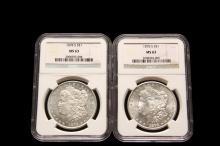 COINS - (2) Morgan Dollars, both 1878-S. NGC MS 63.