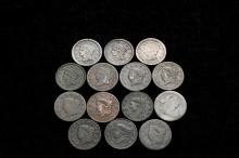 COINS - (14) 1798-1856 Large Cents. Avg Circ-XF.