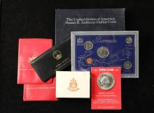 COINS - Lot consisting of: (1) Cayman Island $25 .925 Silver Pc; (1) 1971 Canada Silver Dollar; (1) 1980 China Mint Set; (2) 1983 Australian Mint Sets; (1) 1986 Burmuda 5 Coin Set; (3) 1979 Susan B. Anthony First Day ...