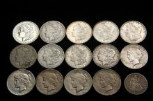 COINS - Lot of (15) Pcs include: (14) Silver Dollars, G to XF, PLUS (1) 1877-S Liberty Seated Half Dollar.