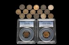COINS - Lot of (17) Indian Head Cents includes: (3) 1861; (2) 1863; (2) 1866; (2) 1867; (1) 1868; (1) 1887; (1) 1898; (1) 1905; (2) 1908. Also 1894/94 doubled date, PCGS 6 and 1890 PCGS AU cleaned.