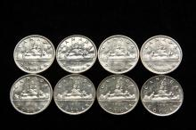 COINS - Lot of (8) Canada Silver Dollars include: (1) 1956; (1) 1957; (3) 1959; (3) 1960. BU.