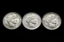 COINS - Lot of (3) Barber Dimes include: (1) 1910, CH BU; (1) 1912-D, CH BU; (1) 1913, CH BU.