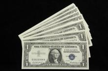 CERTIFICATES - (14) 1957 $1 Silver Certificates, all CU and consecutively numbered, missing one bill, VCH CU/Gem CU. Nice.